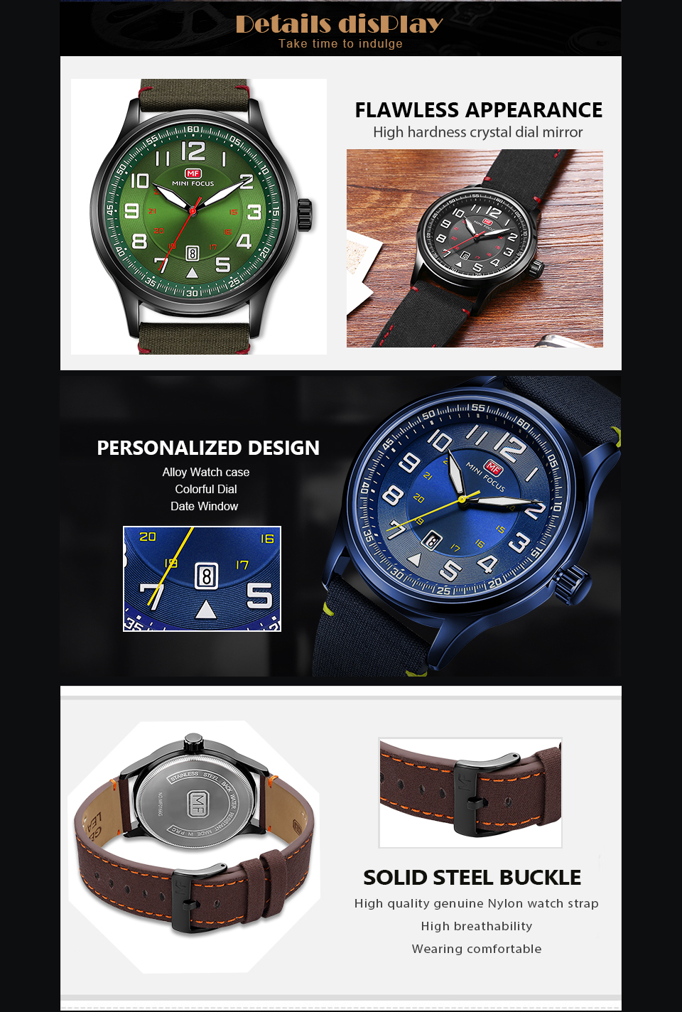Image 5 - MINI FOCUS Military Mens Watches Marine Quartz Watch Ocean Blue Nylon Strap 3D Index Design Auto Date Fashion Relogio Masculino-in Quartz Watches from Watches