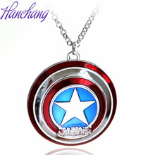 5*5.5 cm Ornament Super Hero The Avengers Captain America Shield Metal Necklace Pendant Accessories Collier Chains Necklace