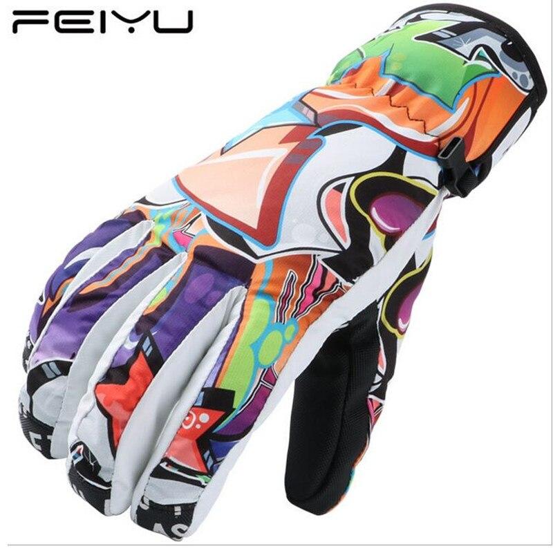 2017 Winter Ski Gloves Women Men Graffiti Colorful Warm Waterproof Snow Snowboard Gloves Outdoor Sports Boys Girls Skiing Gloves