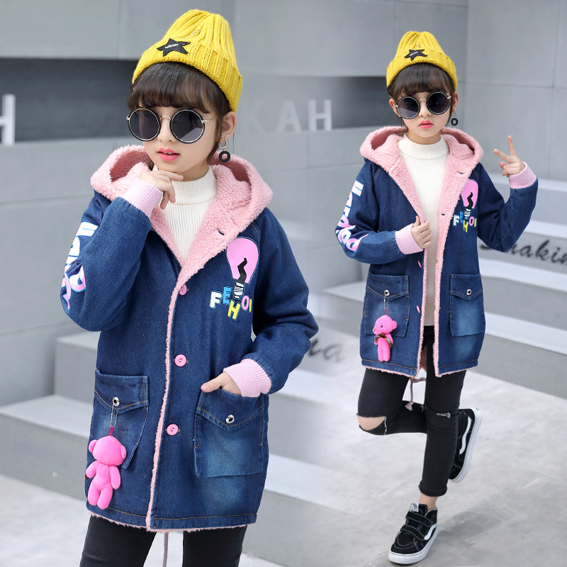 2018 Fashion Girls Denim Jacket Kids Winter Jackets With Berber Fleece Outfits Childrens Jeans Slim Long Warm Outerwear & Coats2018 Fashion Girls Denim Jacket Kids Winter Jackets With Berber Fleece Outfits Childrens Jeans Slim Long Warm Outerwear & Coats