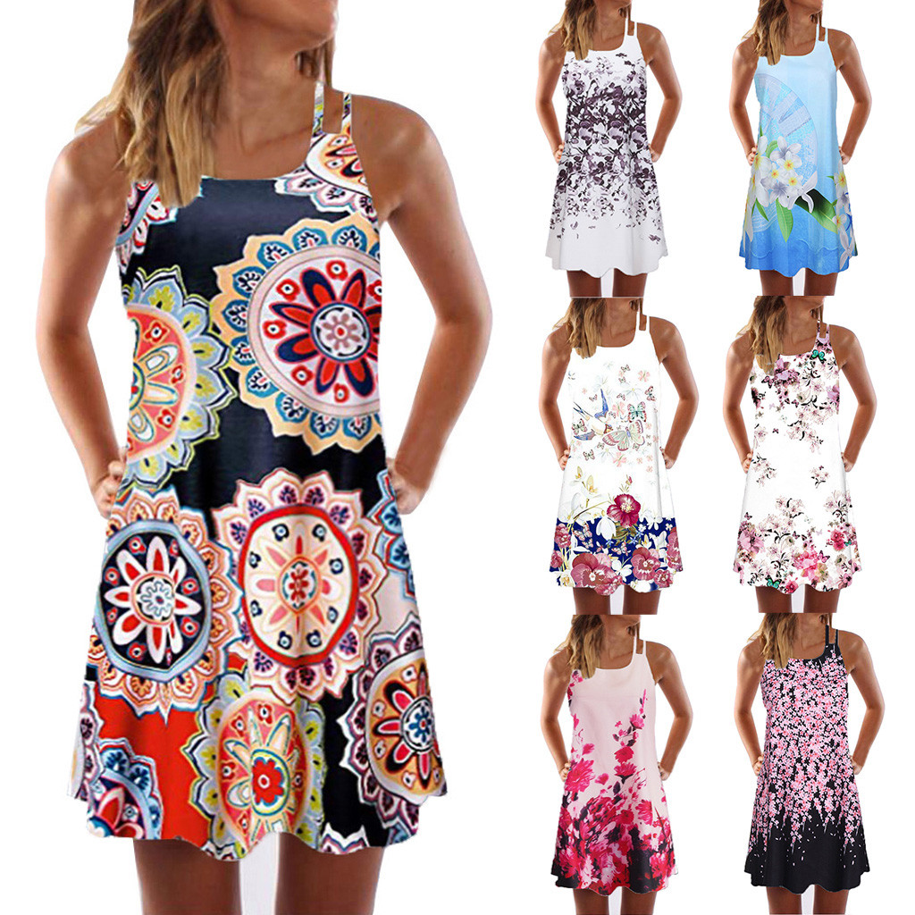 HTB1ulyyPpzqK1RjSZFvq6AB7VXao Vintage Boho Women Summer Dress Sleeveless Beach Flower Printed Short Mini dresses woman party night beach dresses vestidos NEW