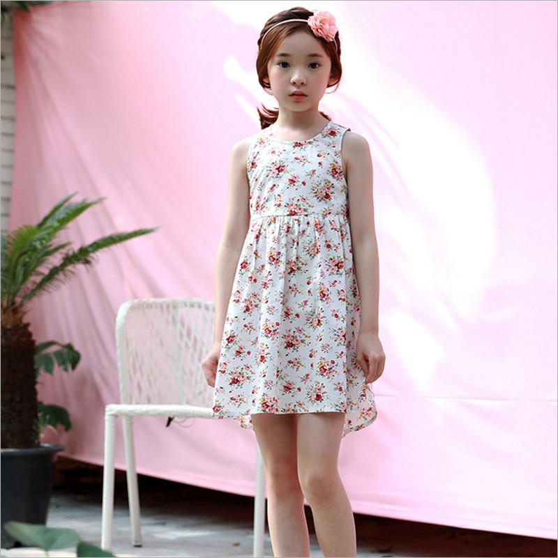 Girls Floral Dress 2018 Summer New Cotton Casual O-neck Sleeveless Backless Knee-length A-line Dresses For Children Girls embroidered casual loose knitted dress flower long sleeved dress o neck line plain dresses fall casual dresses