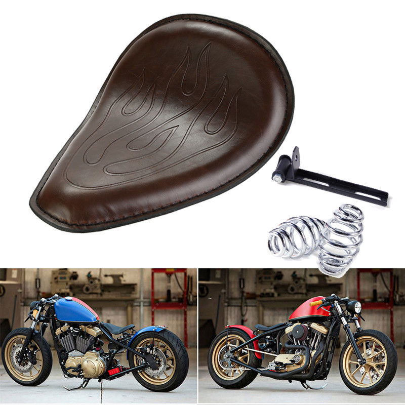 Brown Leather Flame Solo Slim Seat w/ 3 Mount for Harley Bobber Chopper Custom