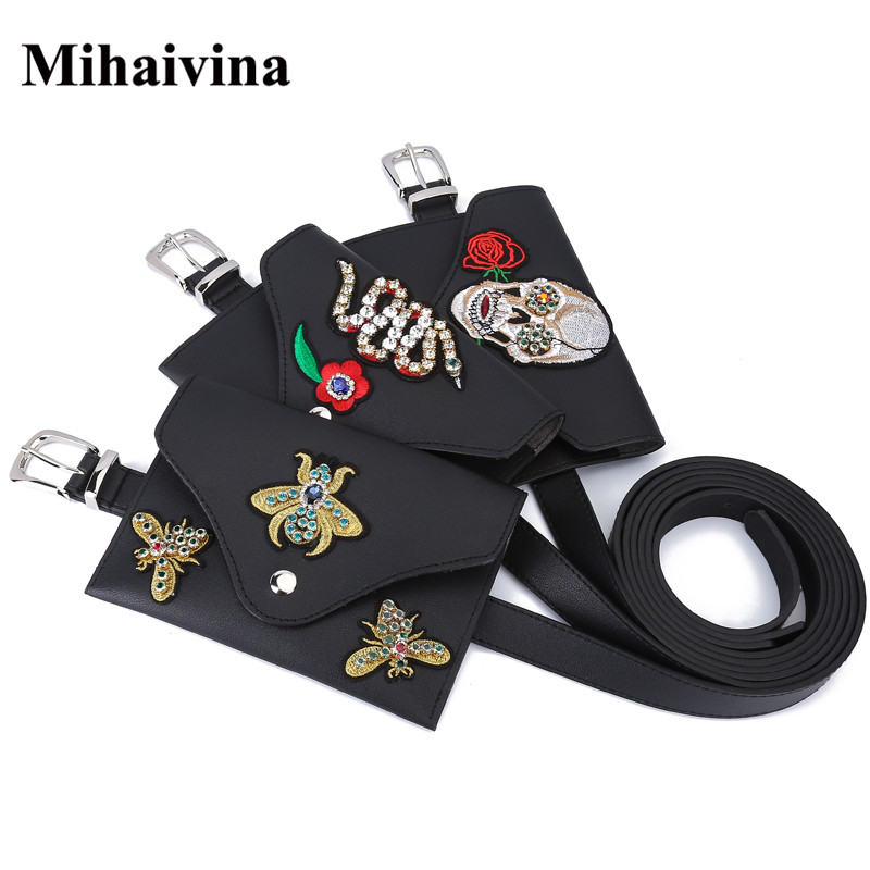 Mihaivina Punk Style Skull Decorative Waist Belt Bags Fashion Fanny Packs For Women Leather Female Waist Pack Pouch Belt Bag