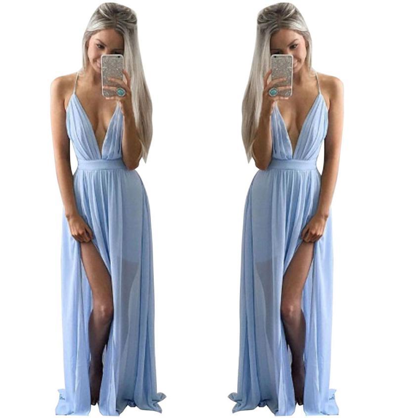 d06f87ff27 VOT7 vestitiy Sexy Women Summer Chiffon Sleeveless Boho Long Maxi Evening  Party Beach Dress