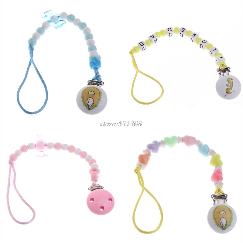 Cute Babys Beaded Wood Pacifier Holder Clip Nursing Teething Dummy Chain Newborn Gift