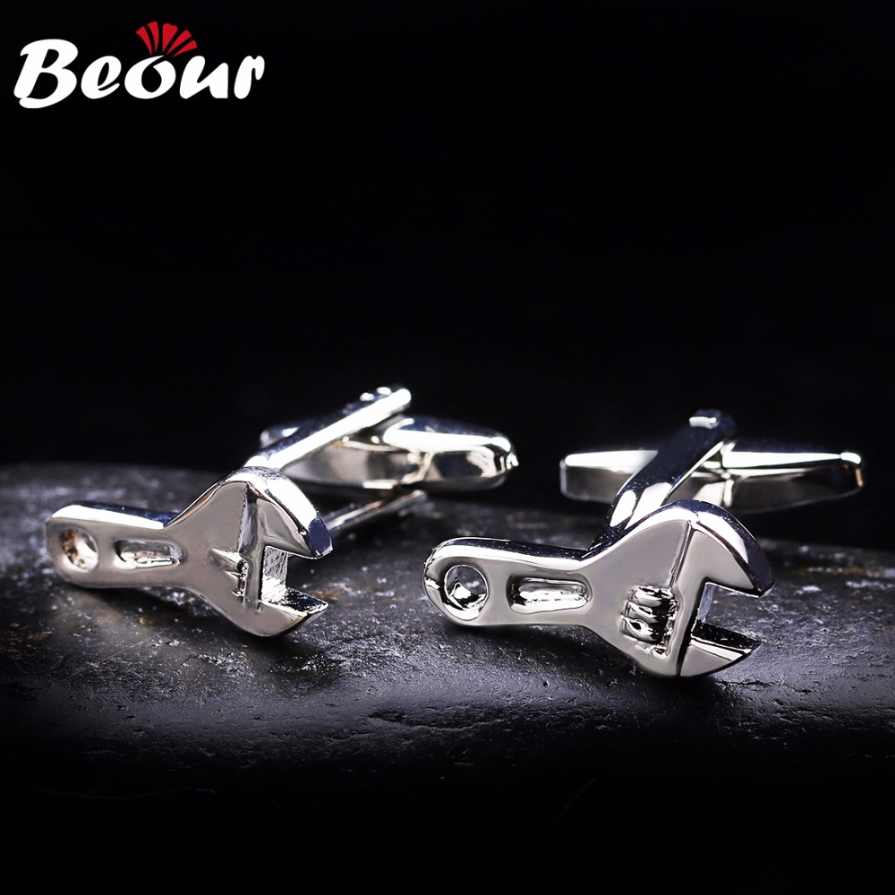 Silver Cufflinks For Mens Fashion Funny Wrench Cuff Links Copper Shirt Wedding Groom Gift