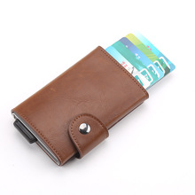 купить Wholesale New Credit Card Holder Men Aluminum Metal Business ID Card Holder Fashion Slim PU Leather RFID Blocking Mini Wallet дешево
