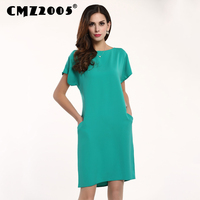 Spring Dresses Sale Limited Straight Polyester Solid Knee Length Pockets Brief Plus Size Vestidos Fiesta Dress 68056
