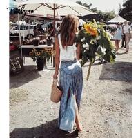 TEELYNN maxi skirt 2018 Vintage Rayon floral print long skirt Sexy split ruffles Boho skirt beach wear Casual Hippie Women skirt