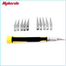 10cs Blades/Set Carving knife Hobby DIY Wood Engraving cutting Sculpture Knife Scalpel Cutting PCB Circuit Board Repair
