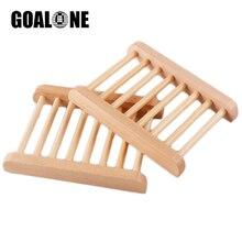 GOALONE 100Pcs/Set Natural Wooden Soap Dish 4.72x3.54inch Handmade Wood Holder Rack Bath Home Decoration Accessories
