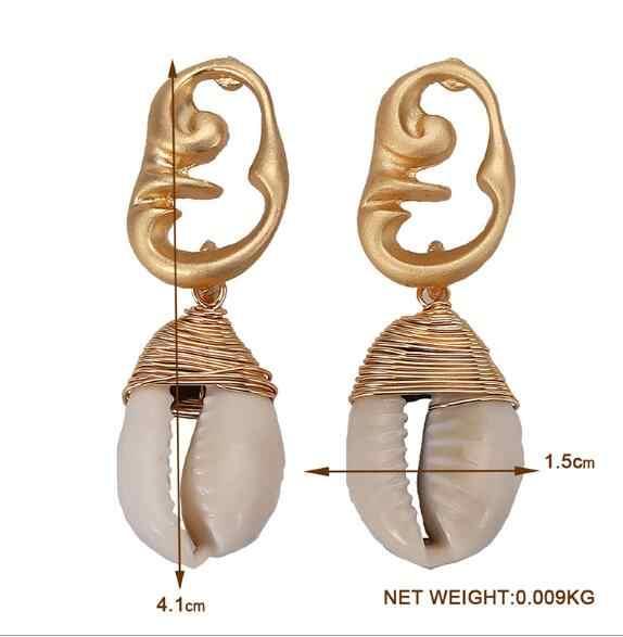2019 ใหม่ Sea Shell ต่างหูผู้หญิง Colo Za สานโลหะไขลาน Drop ต่างหูเปลือกหอยชายหาดฤดูร้อนสุภาพสตรีแฟชั่นเครื่องประดับ