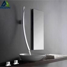Настенный 70 см Носик Водопад смеситель для раковины с одной ручкой хромированный смеситель для ванной комнаты скрытый умывальник Torneira
