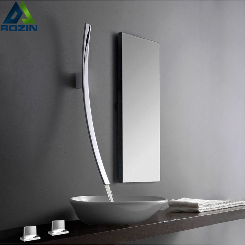 Rozin Wall Mounted 70cm Spout Waterfall Basin Faucet Single Handle Chrome Bathroom Mixer Tap Concealed Basin Sink Torneira