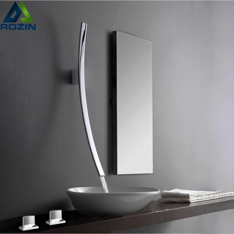 Rozin Wall Mounted 70cm Spout Waterfall Basin Faucet Single Handle Chrome Bathroom Mixer Tap Concealed Basin Innrech Market.com
