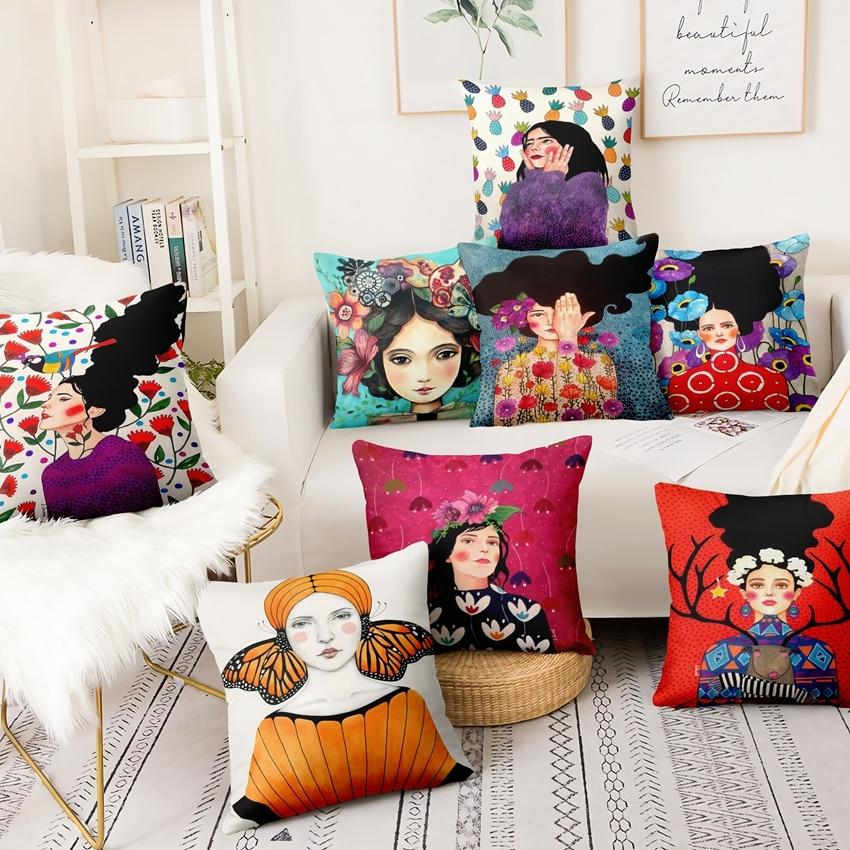Classical Girls Painting Pillowcase Humanities And Art Velvet Cushion Decorative Pillows Home Decor Sofa Throw Pillow 45*45