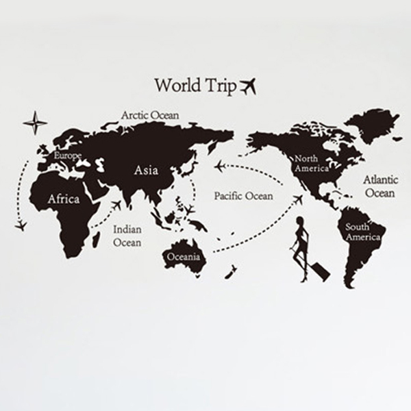 Set Inch Removable PVC Decals World Trip World Map Art Wall - World map silhouette poster