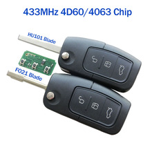 433 MHz Keyless Entry Remote Key Fob For Ford Focus Mondeo C Max S Max Galaxy Fiesta HU101/F021 Blade With 4D60/4D63 80bit Chip