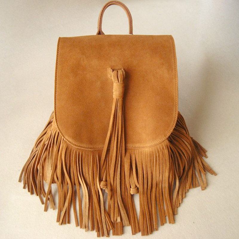 2017 Women Genuine Leather Suede Feminine Backpack Retro Bohemian Boho Chic Mini Bucket Fringe Tassel Brown