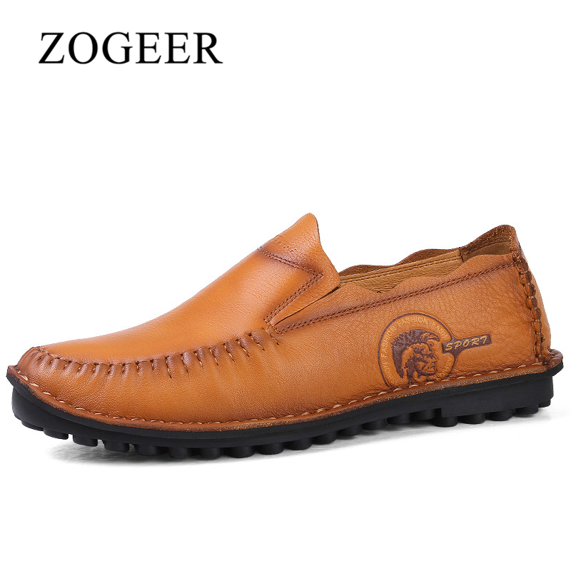 ZOGEER New Arrival Fashion Men Casual Shoes, 2017 Full Grain Leather Mens Shoes, Brand Brown Men's Moccasins Slip On Loafers cbjsho brand men shoes 2017 new genuine leather moccasins comfortable men loafers luxury men s flats men casual shoes