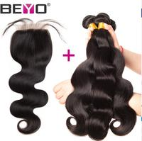 Beyo Hair Brazilian Body Wave Bundles With Closure Free Part 4 PC Lot Hair Extension Non