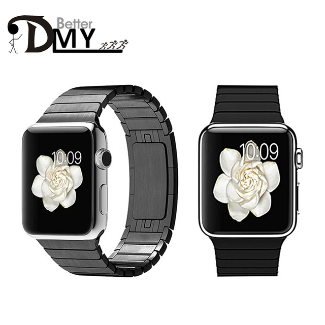 Negro/Plata/Oro/Oro Rosa Inoxidable 316L correa de pulsera de enlace y de lujo de acero inoxidable banda de metal para apple watch 38mm/42mm