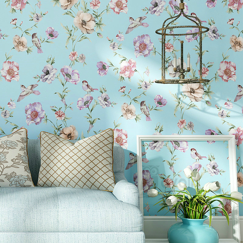 American Country Style Birds And Flowers Blue Pink Beige Light Yellow Wallpaper High Quality For