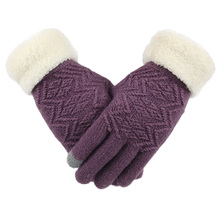 Knitted Gloves Women Winter Warm Fashion Solid Thicken Black Full Finge Touch Screen