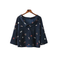 New European Women Printing Shirt Fashion Three Quarter Sleeve Peter Pan Collar Women Shirts Cfc8151