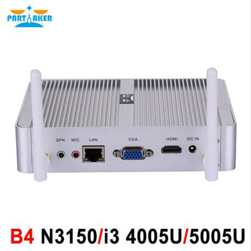 Intel 4K Fanless I3 4005U N3150 Mini PC with VGA HDMI Gigabit Lan Partaker B4 HTPC Hallowmas Gift kingdel business fanless mini pc cheapest n3150 mini computer intel core i3 4005u i3 5005u 4k htpc 300m wifi hdmi vga windows 10