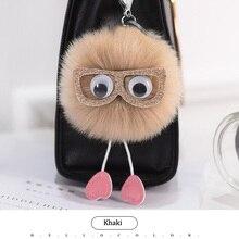 Cute Fluffy Owl Fur pompom Keychain Rabbit Fur Ball bunny key chain pom pom keyring porte clef Key ring llaveros sleutelhanger цена и фото