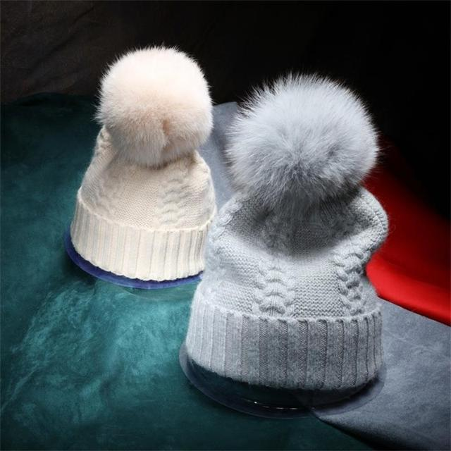 Autumn Winter Knitted Beanies For Women Wool Skullies With Real Fox Fur Pompom Solid Color Casual Female Cap