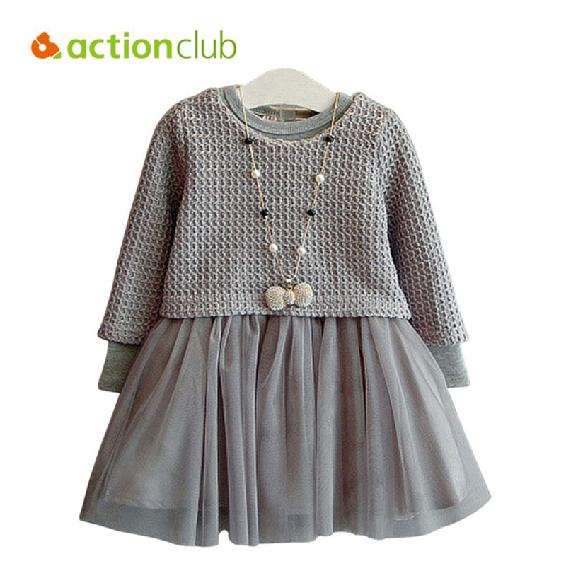 Actionclub Baby Girls Dress Spring Autumn Dresses For Girls Knitted Sweater & Long Sleeve Dress 2pcs Children Kids Party Clothes цены онлайн