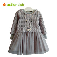 Actionclub Baby Girls Dress Spring Autumn Dresses For Girls Knitted Sweater Long Sleeve Dress 2pcs Children