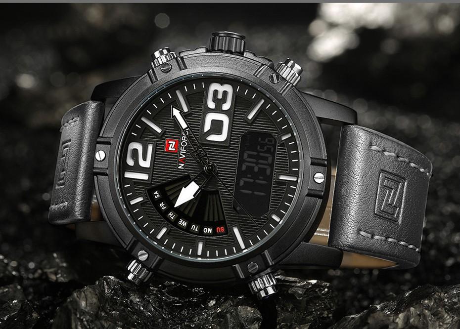 2018 NAVIFORCE Hommes de Mode Sport Montres Hommes Quartz Analogique Date Horloge Homme En Cuir Militaire Montre Étanche Relogio Masculino 12