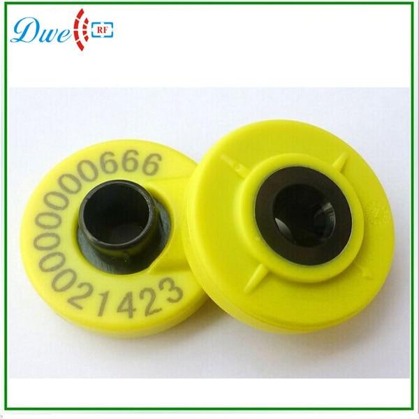 DWE CC RF hot selling ISO11784/11785 FDX-B animal rfid ear tag iso11784 5 fdx b em4305 long range 134 2khz rfid animal ear tag for cow sheep management