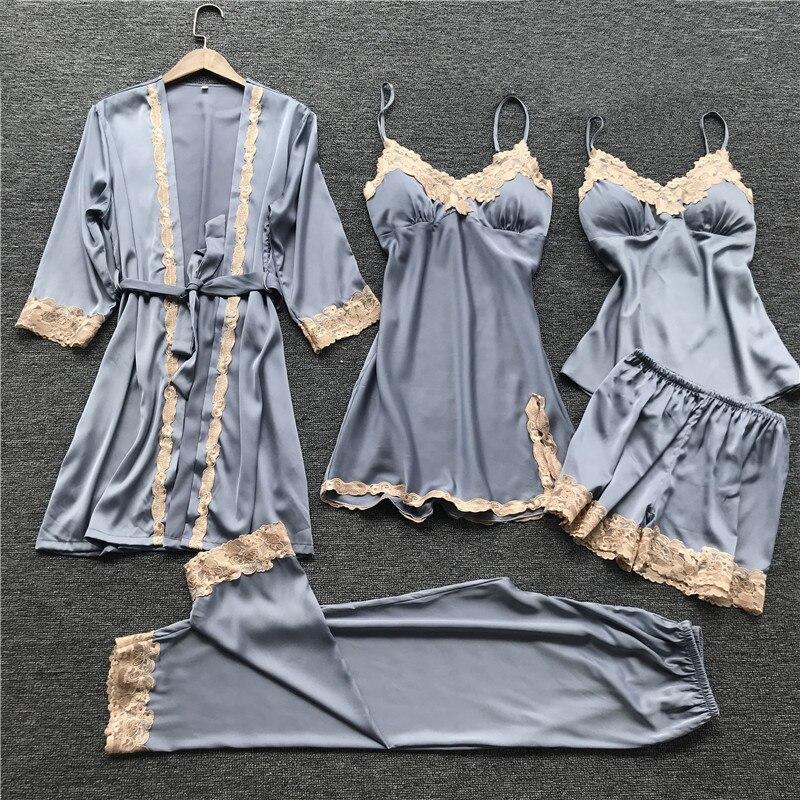 Female Sleepwear Summer Lace Sexy Lingerie Suit Satin 5PCS Cami&Shorts&Nighty&Pants&Robe Sleep Set Casual Nightwear Negligee