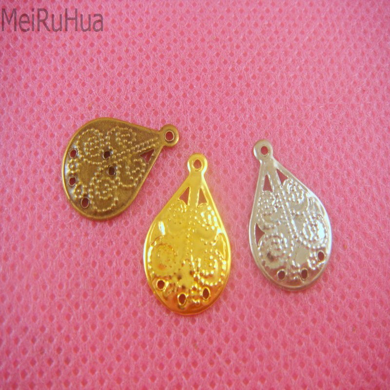 50 pieces/lot 1.5cm Metal Filigree Flowers Slice Charms Setting Jewelry Accessory DIY Components Findings