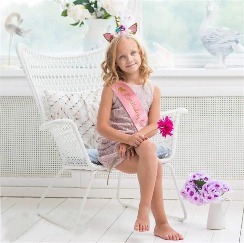 1set Unicorn Headband Shoulder Straps Baby Shower Happy Birthday Party Decorations Kids Bachelorette Party Cartoon Hat