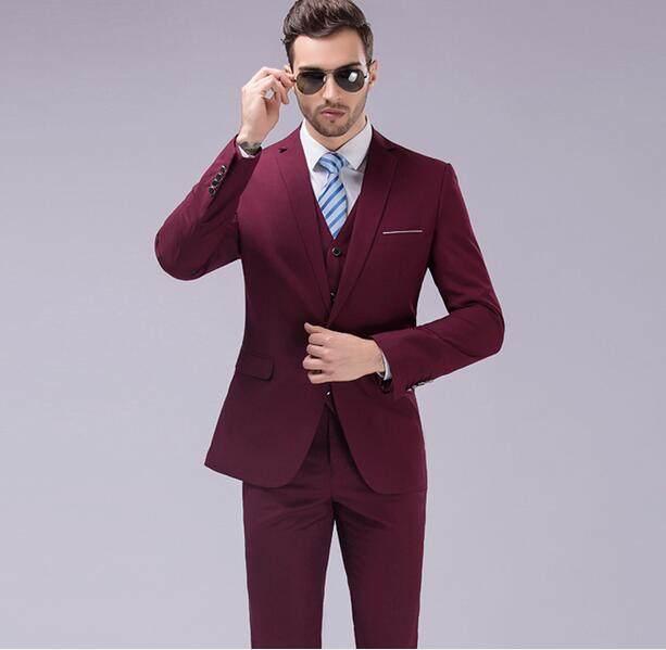 Online Shop Famous Brand Mens Suits Wedding Groom 3 Pieces Slim Fit ...