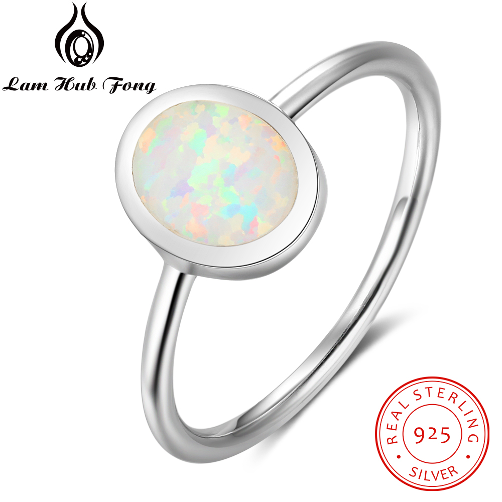 цена на 100% 925 Sterling Silver Ring Opal Stone With White Oval Opal For Women Valentine's Day Romantic Gift(Lam Hub Fong)