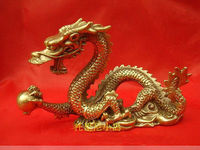 Large brass Small Chinese Bronze brass Dragon figurine Statue 4.5L Decoration 100% Brass Bronze