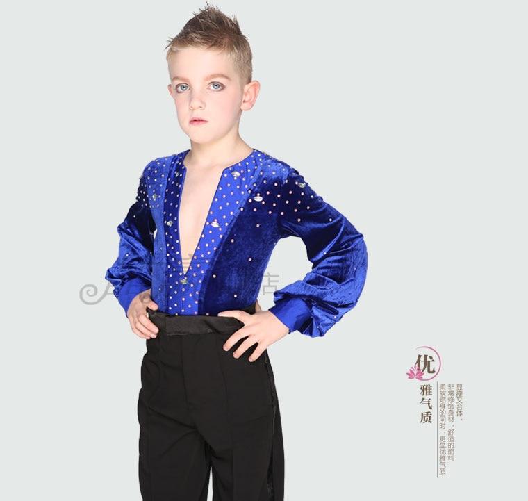 Bezmaksas piegāde 1 gab vīriešu latīņu deju tops Spandex Boys Ballroom Dance krekls ar kaklu Sequins ar garu piedurkni