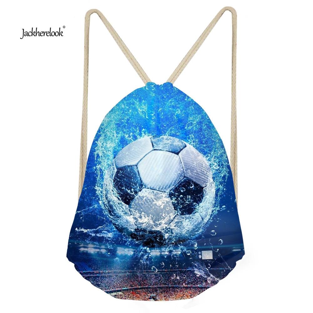 Jackherelook Men's Bags Drawstring Small Backpack 3D Ball Fashion Kids Bolsa School Bookbags For Teenage Boys Pocket String Bag