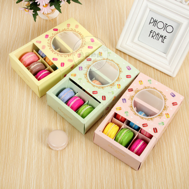 10pcs/lot Pink/green/yellow Macaron Box With Transparent Window Dessert Macarons Pastry Packaging Boxes Event Party Supplies Dec