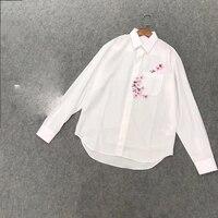 Женская блузка с цветочной вышивкой, модная рубашка с длинным рукавом высокого качества, белая рубашка с отложным воротником, женские топы,