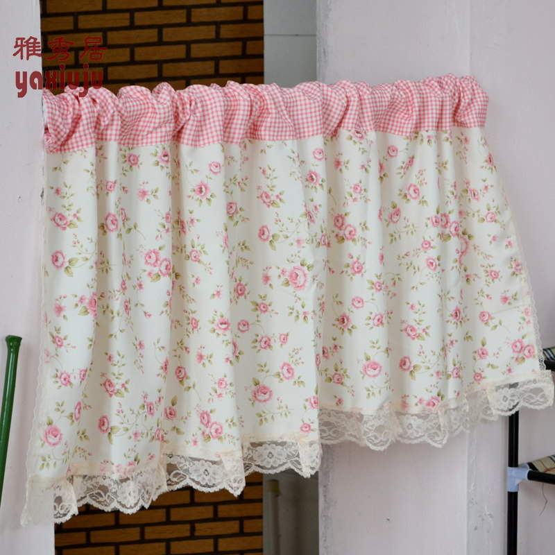 Free Shipping Floral Lace Pink Plaid Country Rustic Semishade Curtain Kitchen  Curtains Coffee Curtain 150*
