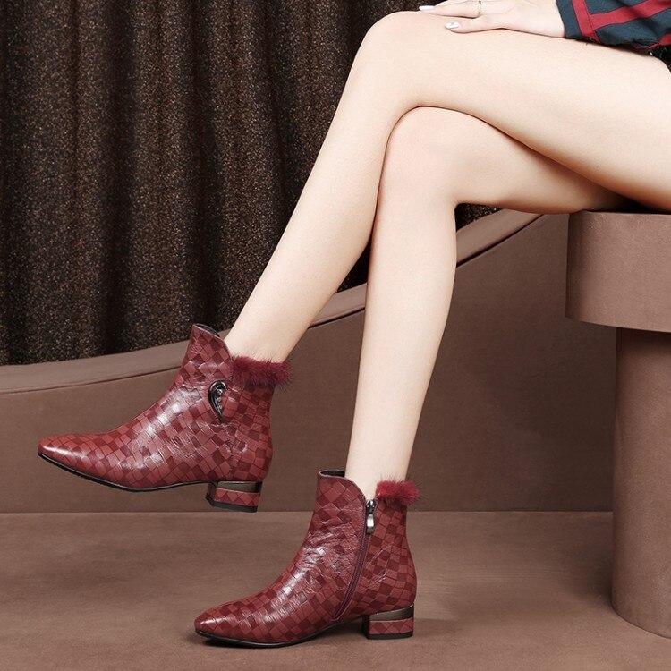 MLJUESE 2019 botas de tobillo de mujer zippers de piel de oveja punta puntiaguda color rojo botas de tacón bajo invierno botas cortas de felpa calientes tamaño 33 43-in Botas hasta el tobillo from zapatos    1