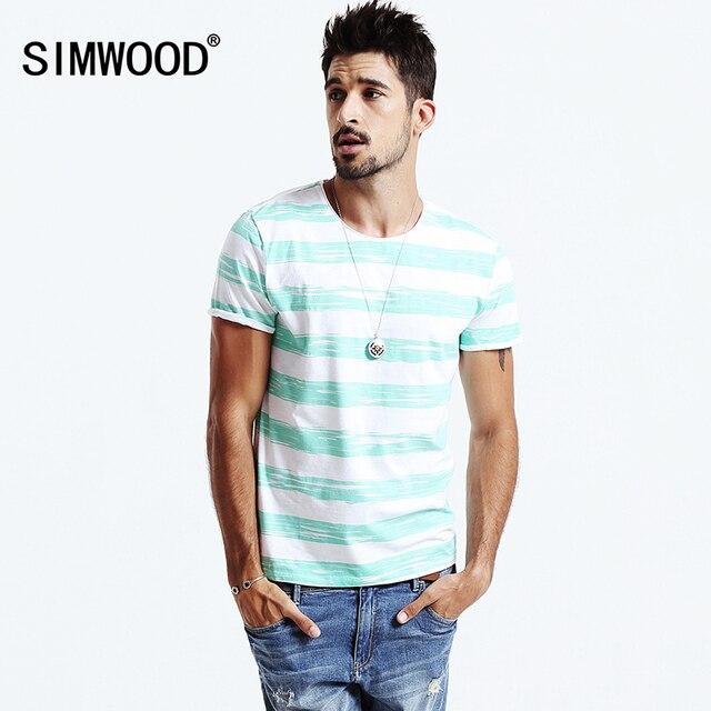 Simwood 2016New Летние Мужчины случайные футболки Мода Полосатой рубашке Хлопка O-образным Вырезом мужская Футболки с коротким рукавом TD1115